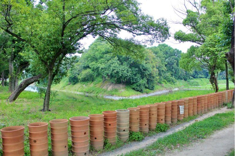 高槻市今城塚古墳の外堤上に復元された埴輪列
